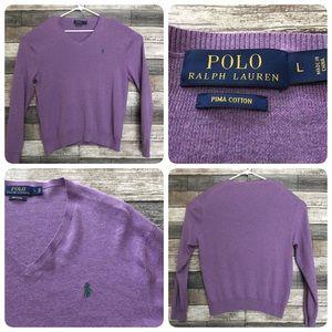 Polo Ralph Lauren pima v neck sweater men L purple